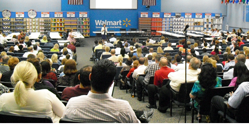 Terry speaks to Walmart employees at the national headquarters Bentonville, AR
